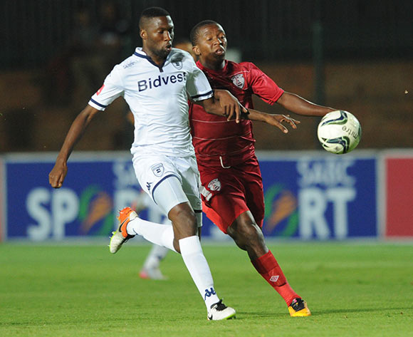 Bushel Mkhwanazi of Bidvest Wits is challenged by Sello Jaftha of Free State Stars  during the Absa Premiership match between Bidvest Wits and Free State Stars on 16 April 2016 at Bidvest Stadium Pic Sydney Mahlangu/ BackpagePix