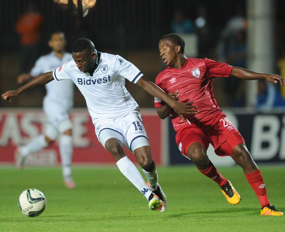 Buhle Mkhwanazi of Bidvest Wits is challenged by Sello Japhta of Free State Stars during the Absa Premiership match between Bidvest Wits and Free State Stars on 16 April 2016 at Bidvest Stadium Pic Sydney Mahlangu/ BackpagePix