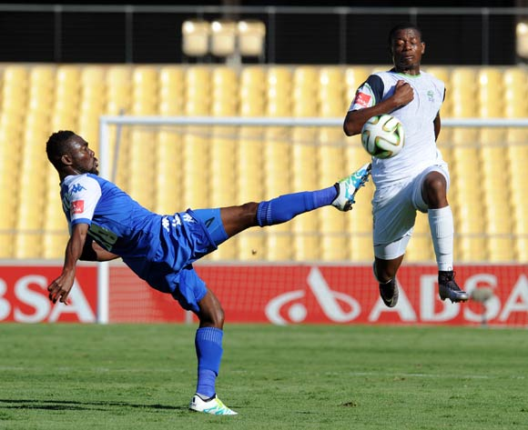 Dove Wome of Supersport United challenges Ndumiso Mabena of Platinum Stars  during the Absa Premiership match between Platinum Stars and Supersport United on 17 April 2016 at Royal Bafokeng Stadium Pic Sydney Mahlangu/ BackpagePix