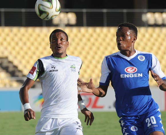Grant Kekana of Supersport United challenges Tlou Segolela of Platinum Stars  during the Absa Premiership match between Platinum Stars and Supersport United on 17 April 2016 at Royal Bafokeng Stadium Pic Sydney Mahlangu/ BackpagePix