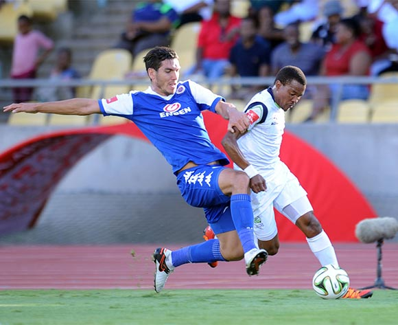 Michael Boxall of Supersport United challenges Tlou Segolela   during the Absa Premiership match between Platinum Stars and Supersport United on 17 April 2016 at Royal Bafokeng Stadium Pic Sydney Mahlangu/ BackpagePix