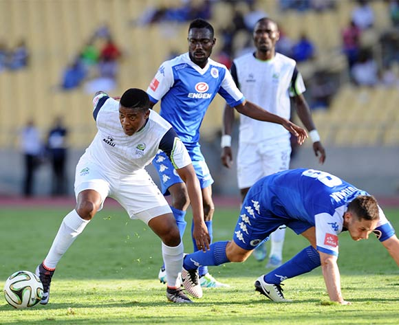 Mduduzi Nyanda of Platinum Stars evades a tackle from Dean Furman of Supersport United  during the Absa Premiership match between Platinum Stars and Supersport United on 17 April 2016 at Royal Bafokeng Stadium Pic Sydney Mahlangu/ BackpagePix