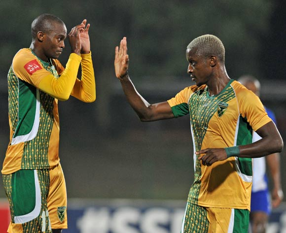 Nkanyiso Cele (l) celebrates goal with Chris Katjiukua of Golden Arrows (r) during the Absa Premiership 2015/16 match between Golden Arrows and Maritzburg United at Princess Magogo Stadium, KwaMashu Kwa-Zulu Natal on 20 April 2016 ©Muzi Ntombela/Backpagepix