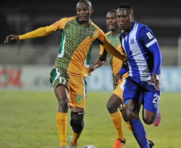 Philani Zulu of Maritzburg United challenged by Nkanyiso Cele of Golden Arrows during the Absa Premiership 2015/16 match between Golden Arrows and Maritzburg United at Princess Magogo Stadium, KwaMashu Kwa-Zulu Natal on 20 April 2016 ©Muzi Ntombela/Backpagepix