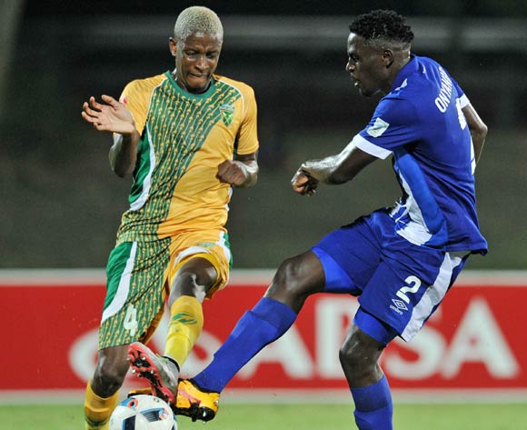 Brian Onyango of Maritzburg United challenged by Chris Katjiukua of Golden Arrows during the Absa Premiership 2015/16 match between Golden Arrows and Maritzburg United at Princess Magogo Stadium, KwaMashu Kwa-Zulu Natal on 20 April 2016 ©Muzi Ntombela/Backpagepix