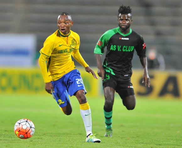Khama Billiat of mamelodi Sundowns challenged by Bernard Morrison of AS Vita during the 2016 CAF Champions League football match between Mamelodi Sundowns v AS Vita at the Lucas Moripe Stadium in Pretoria, South Africa on April 20, 2016 ©Samuel Shivambu/BackpagePix