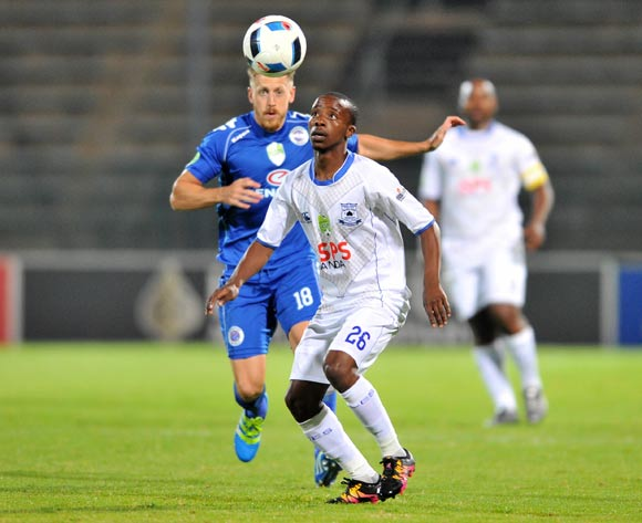 Thabo Nodada of Black Aces challenged by Michael Morton of Supersport United during the 2016 Nedbank Cup match between Supersport United v Black Aces at the Lucas Moripe Stadium in Pretoria, South Africa on April 22, 2016 ©Samuel Shivambu/BackpagePix