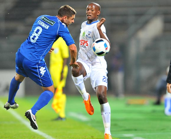 Dean Furman (l) of Supersport United challenged by Judas Moseamedi (c) of Black Aces and Mushin Ertugral (r), coach of Black Aces watching during the 2016 Nedbank Cup match between Supersport United v Black Aces at the Lucas Moripe Stadium in Pretoria, South Africa on April 22, 2016 ©Samuel Shivambu/BackpagePix