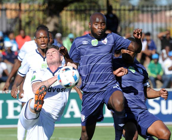 James Keene of Bidvest Wits challenges Makhahleni Makhaula of Free State Stars during the 2016 Nedbank Cup Quarter Final match between Free State Stars and Bidvest Wits on 23 April 2016 at Goble Park Stadium Pic Sydney Mahlangu/ BackpagePix