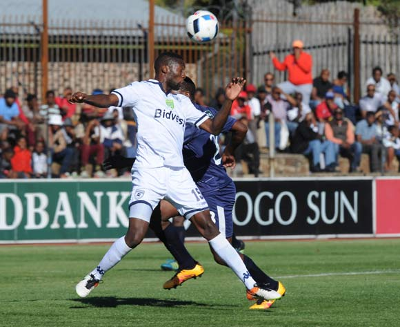 Buhle Mkhwanazi of Bidvest Wits challenges Sello Jaftha of Free State Stars during the 2016 Nedbank Cup Quarter Final match between Free State Stars and Bidvest Wits on 23 April 2016 at Goble Park Stadium Pic Sydney Mahlangu/ BackpagePix