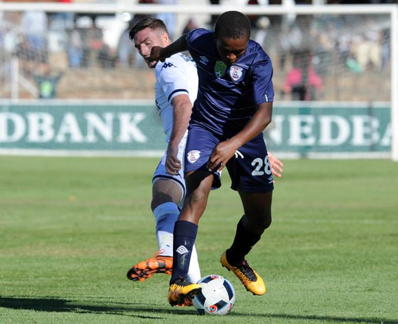 James Keene of Bidvest Wits challenges Sello Jaftha of Free State Stars during the 2016 Nedbank Cup Quarter Final match between Free State Stars and Bidvest Wits on 23 April 2016 at Goble Park Stadium Pic Sydney Mahlangu/ BackpagePix