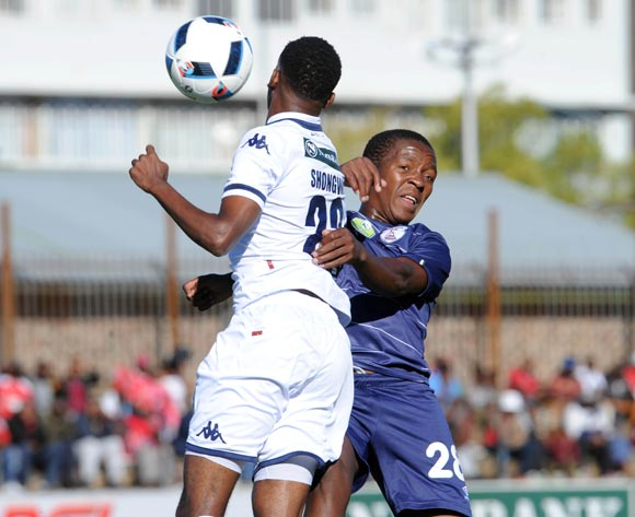 Jabulani Shongwe of Bidvest Wits challenges Sello Jaftha of Free State Stars during the 2016 Nedbank Cup Quarter Final match between Free State Stars and Bidvest Wits on 23 April 2016 at Goble Park Stadium Pic Sydney Mahlangu/ BackpagePix