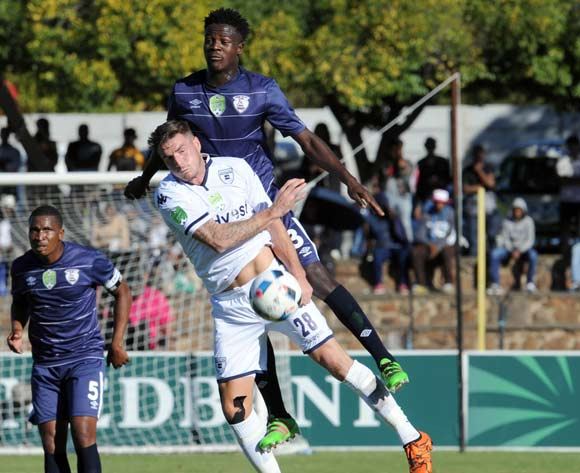 James Keene of Bidvest Wits is challenged by Justice Chabalala of Free State Stars during the 2016 Nedbank Cup Quarter Final match between Free State Stars and Bidvest Wits on 23 April 2016 at Goble Park Stadium Pic Sydney Mahlangu/ BackpagePix