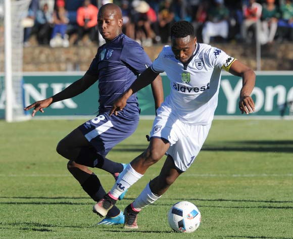 Sibusiso Vilakazi of Bidvest Wits is challenged by Danny Venter of Free State Stars during the 2016 Nedbank Cup Quarter Final match between Free State Stars and Bidvest Wits on 23 April 2016 at Goble Park Stadium Pic Sydney Mahlangu/ BackpagePix