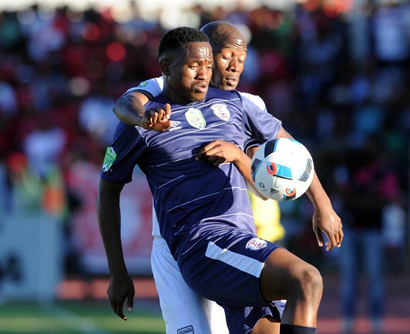 Moeketsi Sekola of Free State Stars is challenged by Sifiso Hlanti of Bidvest Wits during the 2016 Nedbank Cup Quarter Final match between Free State Stars and Bidvest Wits on 23 April 2016 at Goble Park Stadium Pic Sydney Mahlangu/ BackpagePix