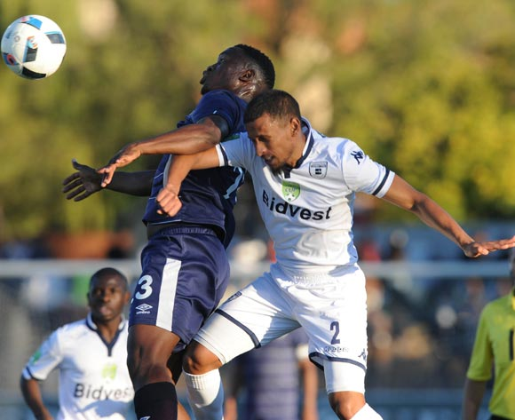 Moeketsi Sekola of Free State Stars challenges Nazeer Allie of Bidvest Wits during the 2016 Nedbank Cup Quarter Final match between Free State Stars and Bidvest Wits on 23 April 2016 at Goble Park Stadium Pic Sydney Mahlangu/ BackpagePix