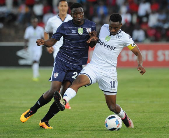 Moeketsi Sekola of Free State Stars challenges Sibusiso Vilakazi of Bidvest Wits during the 2016 Nedbank Cup Quarter Final match between Free State Stars and Bidvest Wits on 23 April 2016 at Goble Park Stadium Pic Sydney Mahlangu/ BackpagePix