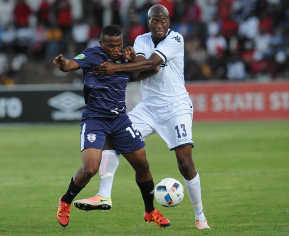 Sifiso Hlanti of Bidvest Wits challenges Angelo Kerspuy of Free State Stars during the 2016 Nedbank Cup Quarter Final match between Free State Stars and Bidvest Wits on 23 April 2016 at Goble Park Stadium Pic Sydney Mahlangu/ BackpagePix