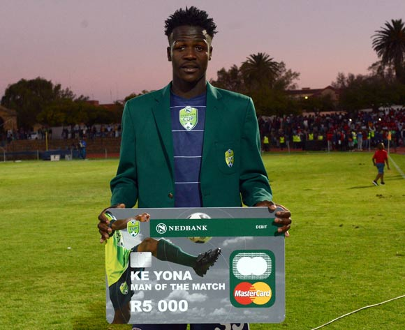 Justice Chabalala of Free State Stars awarded man of the match during the 2016 Nedbank Cup Quarter Final match between Free State Stars and Bidvest Wits on 23 April 2016 at Goble Park Stadium Pic Sydney Mahlangu/ BackpagePix