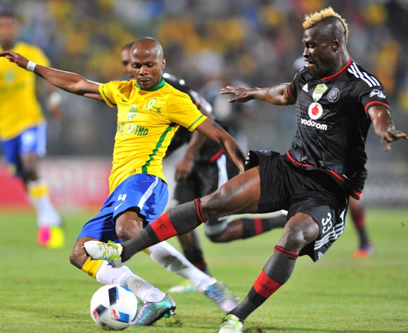 Tebogo Langerman of Mamelodi Sundowns tackled by Edwin Gyimah of Orlando Pirates during the 2016 Nedbank Cup match between Mamelodi Sundowns and Orlando Pirates at the Lucas Moripe Stadium in Pretoria, South Africa on April 23, 2016 ©Samuel Shivambu/BackpagePix