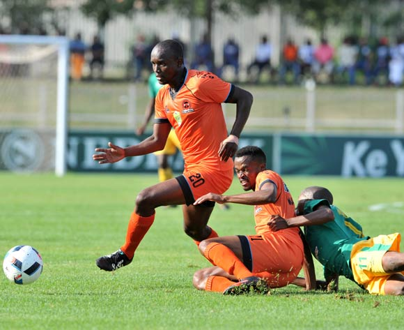 Dumisane Ngwenya (r) of Baroka FC challenged by Jorry Matjila (c) and Jabulani Nene (l) of Polokwane City during the 2016 Nedbank Cup match between Polokwane City and Baroka FC at the Old Peter Mokaba Stadium in Polokwane, South Africa on April 24, 2016 ©Samuel Shivambu/BackpagePix