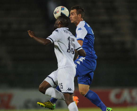 Buhle Mkhwanazi of Bidvest Wits is challenged by Bradley Grobler of Supersport United  during the Absa Premiership match between Supersport United and Bidvest Wits on 26 April 2016 at Lucas Moripe Stadium Pic Sydney Mahlangu/ BackpagePix