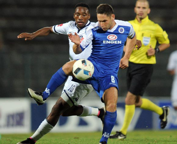 Sibusiso Vilakazi of Bidvest Wits challenges Dean Furman of Supersport United during the Absa Premiership match between Supersport United and Bidvest Wits on 26 April 2016 at Lucas Moripe Stadium Pic Sydney Mahlangu/ BackpagePix