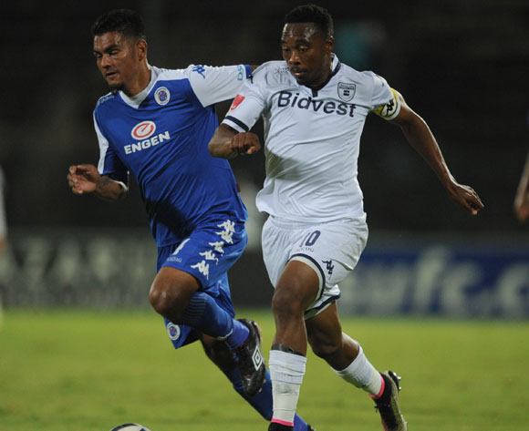 Clayton Daniels of Supersport United challenges Sibusiso Vilakazi of Bidvest Wits during the Absa Premiership match between Supersport United and Bidvest Wits on 26 April 2016 at Lucas Moripe Stadium Pic Sydney Mahlangu/ BackpagePix