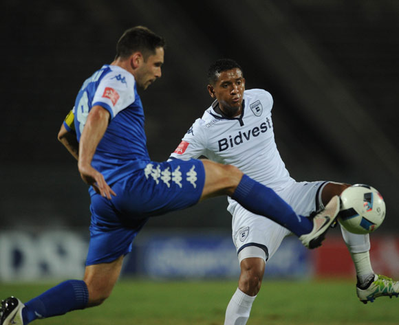 Daine Klate of Bidvest Wits challenges Dean Furman of Supersport United during the Absa Premiership match between Supersport United and Bidvest Wits on 26 April 2016 at Lucas Moripe Stadium Pic Sydney Mahlangu/ BackpagePix