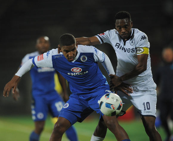 Morne Nel of Supersport United  is challenged by Sibusiso Vilakazi of Bidvest Wits during the Absa Premiership match between Supersport United and Bidvest Wits on 26 April 2016 at Lucas Moripe Stadium Pic Sydney Mahlangu/ BackpagePix