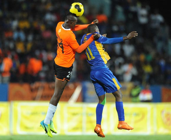 Olekantse Mambo of Orapa United and Segolame boy of Township Rollers during the Mascom Top8 final at the Francistown Stadium in Botswana on 23 April 2016. Monirul Bhuiyan/Backpagepix
