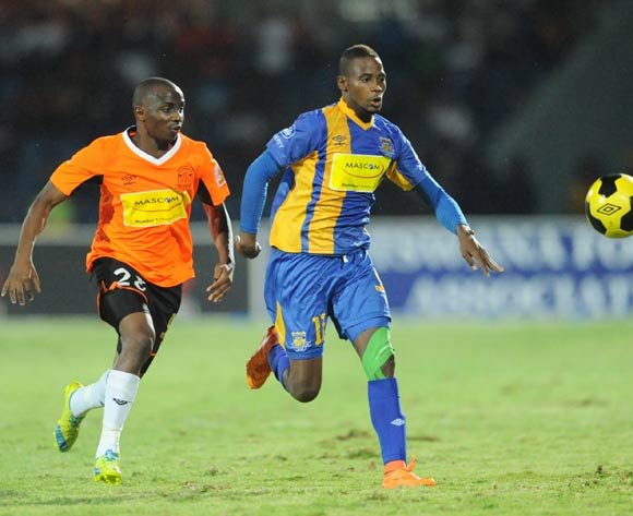 Kealeboga Molebatsi of Orapa United and Segolame boy of Township Rollers during the Mascom Top8 final at the Francistown Stadium in Botswana on 23 April 2016. Monirul Bhuiyan/Backpagepix