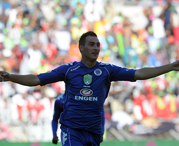 Bradley Grobler of Supersport United celebrates a goal during the Nedbank Cup Final match between Supersport United and Orlando Pirates  on 28 May 2016 at Peter Mokaba Stadium Pic Sydney Mahlangu/ BackpagePix