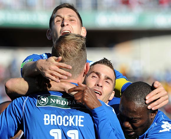 Bradley Grobler of Supersport United celebrates a goal with teammates during the Nedbank Cup Final match between Supersport United and Orlando Pirates  on 28 May 2016 at Peter Mokaba Stadium Pic Sydney Mahlangu/ BackpagePix
