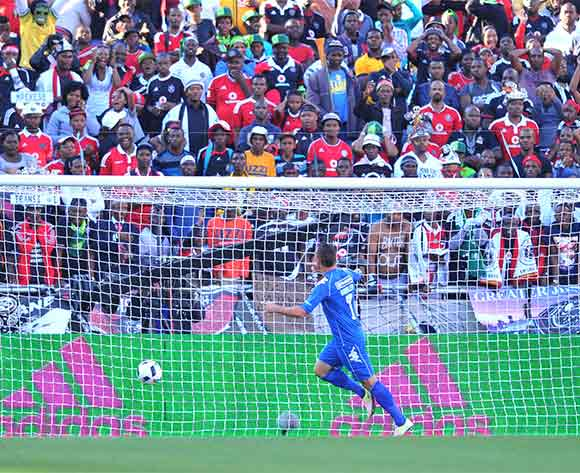 Bradley Grobler of Supersport United celebrates his goal during the 2016 Nedbank Cup Final match between Supersport United and Orlando Pirates at the Peter Mokaba Stadium in Polokwane, South Africa on May 28, 2016 ©Samuel Shivambu/BackpagePix