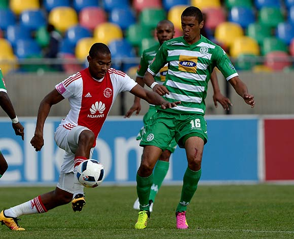 Prince Nxumalo from Ajax Cape Town FC. and Bevan Fransman from Bloemfontein Celtic FC during the Absa Premiership match between Bloemfontein Celtic FC and Ajax at Dr Molemela Stadium on 1 May 2016. ©Gerhard Steenkamp/BackpageMedia