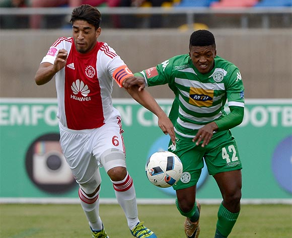 Travis Graham from Ajax Cape Town FC. and Dumisani Zuma of Bloemfontein Celtic FC during the Absa Premiership match between Bloemfontein Celtic FC and Ajax at Dr Molemela Stadium on 1 May 2016. ©Gerhard Steenkamp/Backpage Media