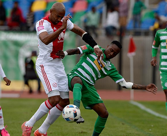 Nathan Paulse from Ajax Cape Town FC. and Mthokozisi Dube of Bloemfontein Celtic FC during the Absa Premiership match between Bloemfontein Celtic FC and Ajax at Dr Molemela Stadium on 1 May 2016. ©Gerhard Steenkamp/Backpage Media