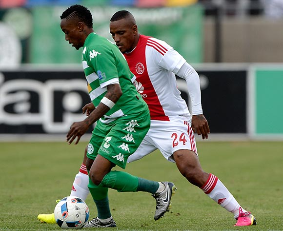 Mthokozisi Dube of Bloemfontein Celtic FC and  Franklin Cale from Ajax Cape Town FC. during the Absa Premiership match between Bloemfontein Celtic FC and Ajax at Dr Molemela Stadium on 1 May 2016. ©Gerhard Steenkamp/Backpage Media