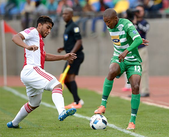 Thapelo Morena from Bloemfontein Celtic FC and Travis Graham from Ajax Cape Town FC. during the Absa Premiership match between Bloemfontein Celtic FC and Ajax at Dr Molemela Stadium on 1 May 2016. ©Gerhard Steenkamp/Backpage Media