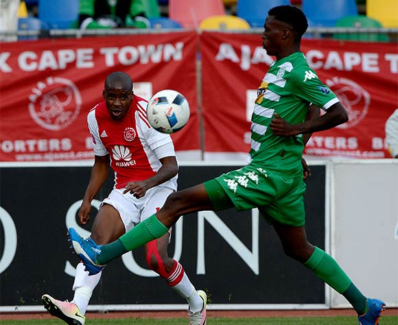 Bantu Mzawkali from Ajax Cape Town FC. and Aphiwe Lubisi from Bloemfontein Celtic FC during the Absa Premiership match between Bloemfontein Celtic FC and Ajax at Dr Molemela Stadium on 1 May 2016. ©Gerhard Steenkamp/Backpage Media