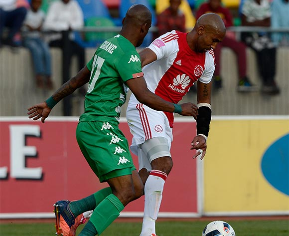 Nathan Paulse from Ajax Cape Town FC. and Alfred Ndengane from Bloemfontein Celtic FC during the Absa Premiership match between Bloemfontein Celtic FC and Ajax at Dr Molemela Stadium on 1 May 2016. ©Gerhard Steenkamp/Backpage Media