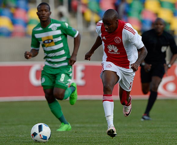 Bantu Mzawkali from Ajax Cape Town FC. and Lantshene Phalane from Bloemfontein Celtic FC during the Absa Premiership match between Bloemfontein Celtic FC and Ajax at Dr Molemela Stadium on 1 May 2016. ©Gerhard Steenkamp/Backpage Media