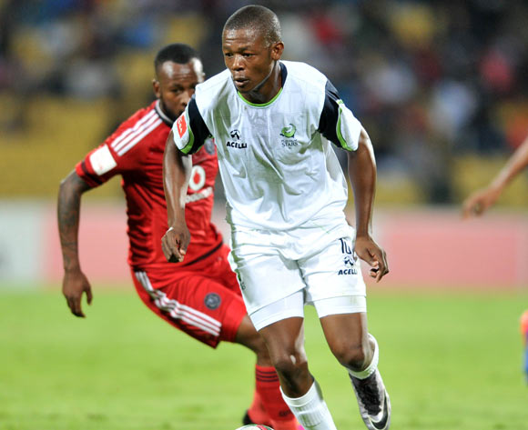 Ndumiso Mabena of Platinum Stars challenged by Mpho Makola of Orlando Pirates during the Absa Premiership match between Platinum Stars and Orlando Pirates at the Royal Bafokeng Stadium in Rustenburg, South Africa on May 02, 2016 ©Samuel Shivambu/BackpagePix