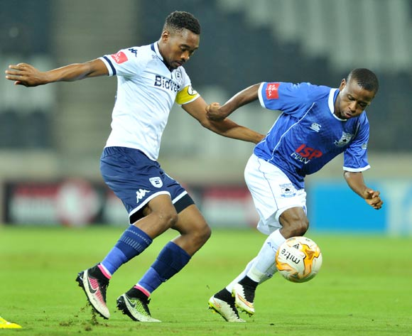 Lindokuhle Mbatha of Black Aces challenged by Sibusiso Vilakazi of Bidvest Wits during the Absa Premiership match between Black Aces and Bidvest Wits at the Mbombela Stadium in Nelspruit, South Africa on May 03, 2016 ©Samuel Shivambu/BackpagePix