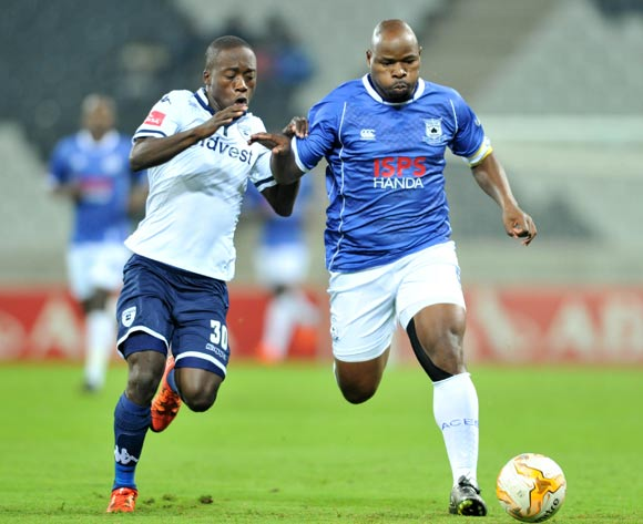 Collins Mbesuma of Black Aces challenged by Ben Motshwari of Bidvest Wits during the Absa Premiership match between Black Aces and Bidvest Wits at the Mbombela Stadium in Nelspruit, South Africa on May 03, 2016 ©Samuel Shivambu/BackpagePix