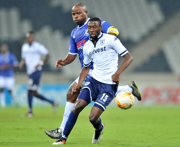 Buhle Mkhwanazi of Bidvest Wits challenged by Collins Mbesuma of Black Aces during the Absa Premiership match between Black Aces and Bidvest Wits at the Mbombela Stadium in Nelspruit, South Africa on May 03, 2016 ©Samuel Shivambu/BackpagePix