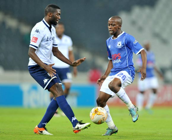 Thabo Nodada of Black Aces challenged by Buhle Mkhwanazi of Bidvest Wits during the Absa Premiership match between Black Aces and Bidvest Wits at the Mbombela Stadium in Nelspruit, South Africa on May 03, 2016 ©Samuel Shivambu/BackpagePix