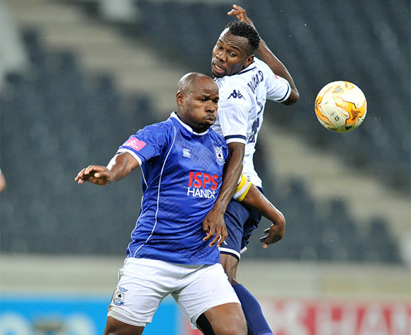Collins Mbesuma of Black Aces challenged by Bongani Khumalo of Bidvest Wits during the Absa Premiership match between Black Aces and Bidvest Wits at the Mbombela Stadium in Nelspruit, South Africa on May 03, 2016 ©Samuel Shivambu/BackpagePix