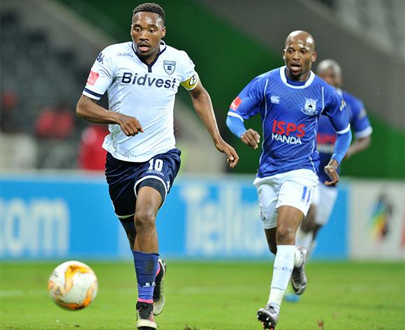 Sibusiso Vilakazi of Bidvest Wits challenged by Aubrey Ngoma of Black Aces during the Absa Premiership match between Black Aces and Bidvest Wits at the Mbombela Stadium in Nelspruit, South Africa on May 03, 2016 ©Samuel Shivambu/BackpagePix